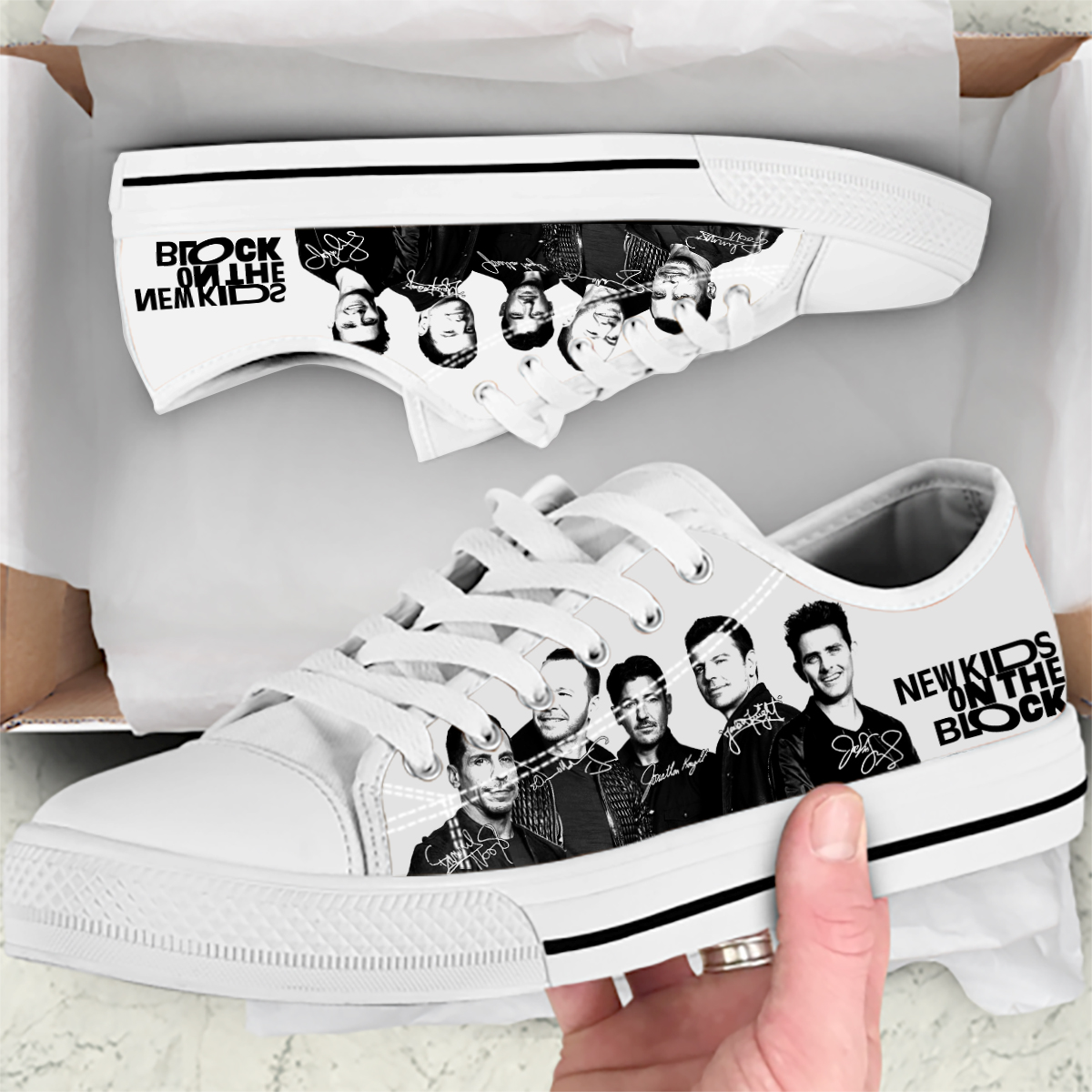 New Kids On The Block White Low Tops